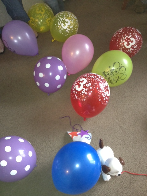 A few balloons and a party hat to decorate kept the little ones amused all ...